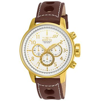 INVICTA S1 Rally Mens Chronograph - Gold-Tone - White Dial - Brown Leather Strap