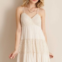 Lace Detail Sun Dress - Natural