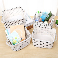 Simple Style Linen Desk Storage Basket Sundries Jewelry Storage Box Holder Cosmetic Stationery Black White Organizer Case