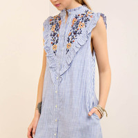 Striped Button Down Embroidered Bib Dress