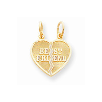 10k Yellow Gold 2 Piece Best Friend Heart Charm