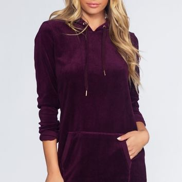 Love Forever Sweatshirt Dress - Plum