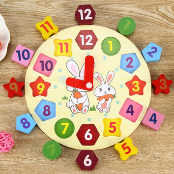 2016 New Design Wooden Blocks Toys Digital Geometry Clock Children's Educational Toy for Baby Boy and Girl Gift
