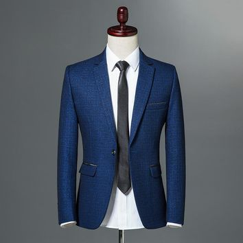 2018 Autumn Classic Mens Self-cultivation Leisure Blazer Single Button Slim Fit Business Casual Jacket Wine Red Navy blue M-3XL