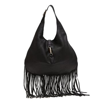 Gucci Jackie Black Fringe Leather Hobo Handbag 351783