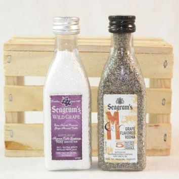 Salt and Pepper Shaker Upcycled from Seagram's Mini Liquor Bottles
