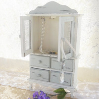 Cottage Style Vintage Footed Jewelry Box, Chest of Drawers, French Decor, Shabby Chic