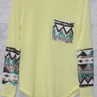 Havana Nights Terry Yellow Tribal Sequin Sleeve Pocket Top