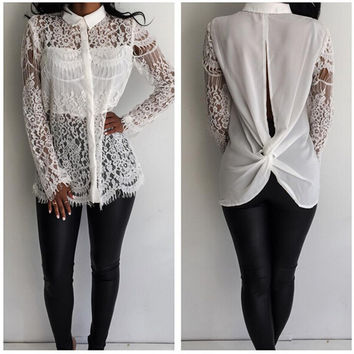 Floral Lace White Blouse with Sleeves 22131