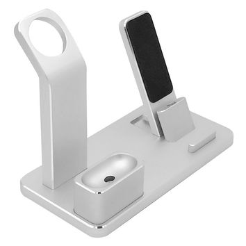 4 in 1 Charging Stand Aluminum Alloy Multifunctional Charging Docks Holder for Apple Watch AirPods iPhone iPad (Silver)