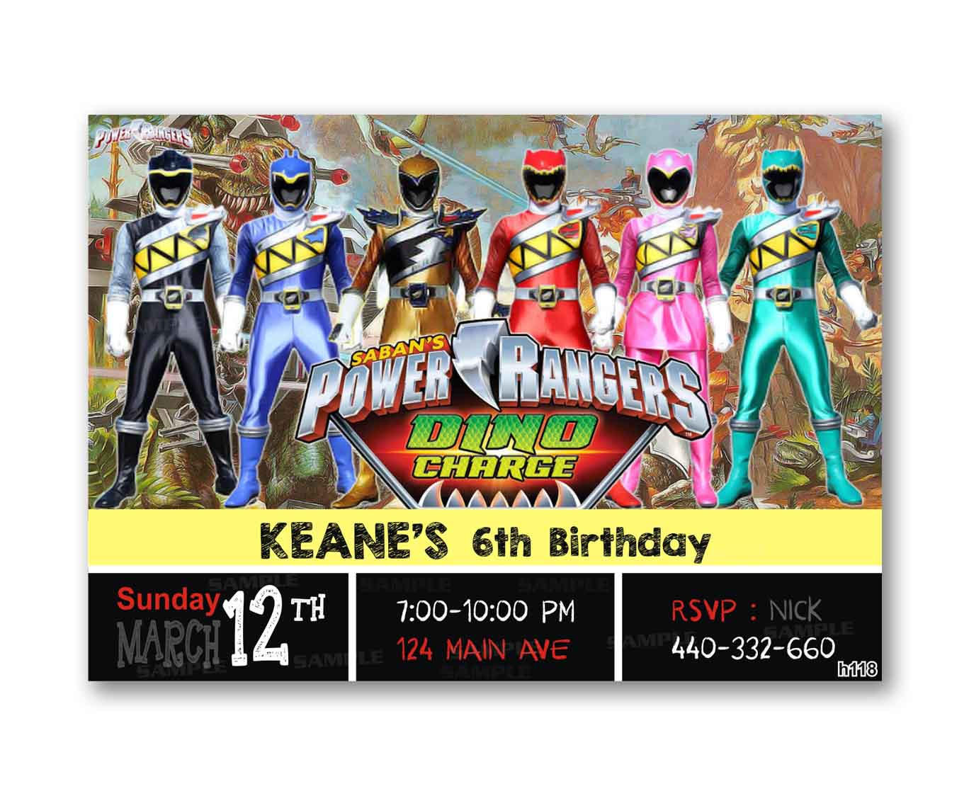 Power Rangers Dino Charge Kids Birthday from uinvites – Power Rangers Birthday Invitations