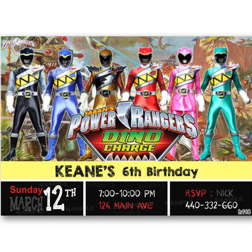 Power Rangers Dino Charge Kids Birthday Invitation Party Design