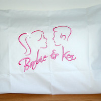 Barbie and Ken embroidered 100% cotton, pillow case. Fuchia embroidery on white Percale cotton fabric