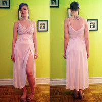 Vintage lacy long maxi length white slip dress with long slit