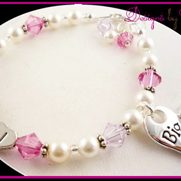 Big Sister Bracelet  Initial Personalized  Little Sister Swarovski heart charm silver swarovski pearl pink crystals choose colors, new baby