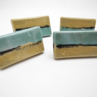 Drawer Knobs Door Pulls  - Handmade Ceramic Handles in Turquoise and Sand
