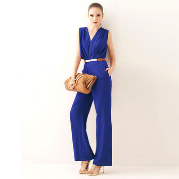 Fashion Women Sleeveless Cocktail Party Jumpsuit Rompe Fashion