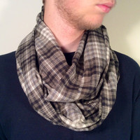Handmade Infinity Scarf Plaid Flannel - Men, Boyfriend, Double  Layer Circle -  Olive Green, Cream, Black, Christmas Present, Holiday Gift