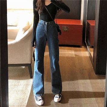 High Waisted Wide Leg Vintage Fit Jeans