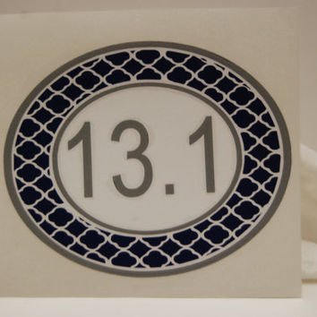 13.1  or 26.2 Marathon Running Sticker  Quatrefoil Oval Vinyl Three Color  Car Decal