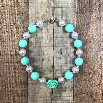 RTS Girls Mint and Silver Floral Chunky Necklace
