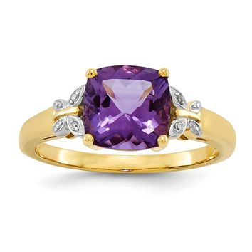 14K Yellow Gold Diamond and Amethyst Square Ring