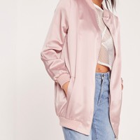 Missguided - Longline Satin Bomber Jacket Mauve