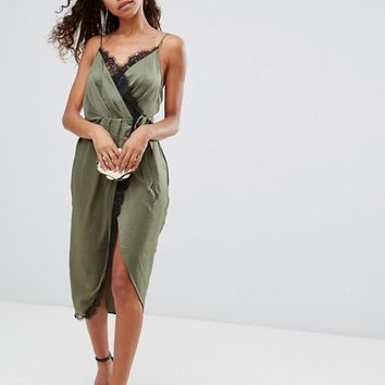 ASOS PETITE Hammered Satin Lace Trim Cami Sexy Wrap Midi Dress at asos.com