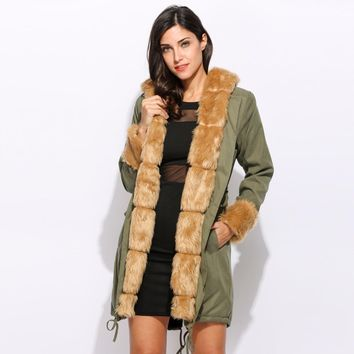 Winter Jacket Women Coat Army Green Large Faux Fur Collar Thick Parka Long Coat Down Parkas Outwear Fur Jacket Warm Outwear