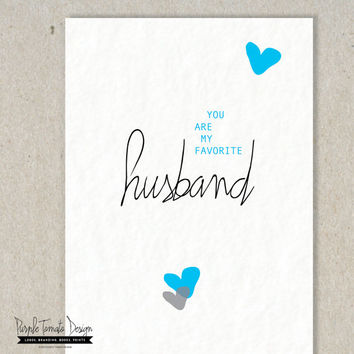 Printable Favorite Husband Card with Envelope DIY. Husband Birthday. Anniversary Card. Instant Download