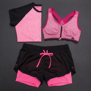 3pcs Women's Sport Bras Padded Yoga Fitness Racerback Vest Shorts Set 07