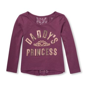 Baby And Toddler Girls Long Sleeve Lace-Back Embellished Top