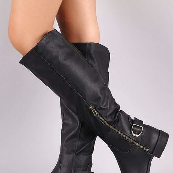 Wild Diva Lounge Buckled Riding Boots