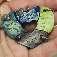 Friendship Charms Set of 4 Heart puzzle pieces Pottery charm Made To Order