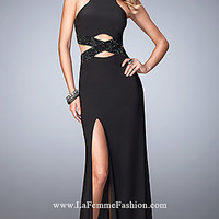 High Neck Black Prom Dress with Cut Outs by La Femme