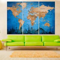 Push Pin world map wall art canvas print, travel map, map with countries, 3 panel split modern wall decor for living room No:hr8