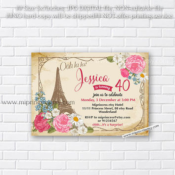 Paris Eiffel Tower Birthday Invitation for any age, vintage Invite16th 18th 20th 30th 40th 50th 60th 70th 80th 90th vintage - card 700