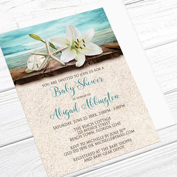 Beach Baby Shower Invitations - Lily Seashells and Sand Beach - Rustic Floral Tropical Hawaiian - Wood Dock by Water - Printed Invitations