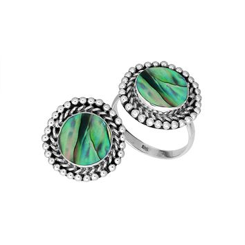 AR-6211-AB-7'' Sterling Silver Round Shape Ring With Abalone Shell