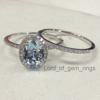 Oval Aquamarine Engagement Ring Sets Pave Diamond Wedding 14K White Gold 6x8mm