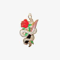 SERPENT BLADE ROSE PIN