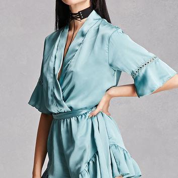 Ruffled Self-Tie Satin Romper