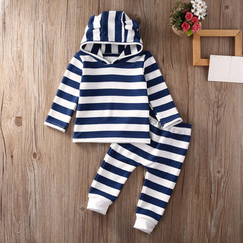 Autumn Newborn Baby Boys Girls clothes cotton long sleeve  Striped Hoodie Top + Pants Leggings Outfits Set Clothes