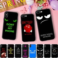 Minason Don't Touch My Phone Tumblr Funny Soft Silicone Case for iPhone X 5 S 5S XR XS Max SE 6 6S 7 8 Plus Quotes Cover Coque