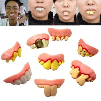 2pcs April fool's day trick toys gagtooth Halloween costumes tooth More joke hilarious dentures teeth Cosplay humor bucktooth S3
