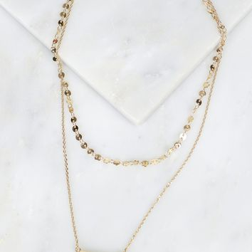 Layered Stone Necklace Clear
