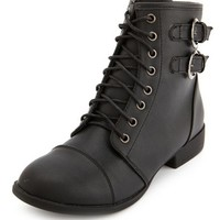 Double Buckle Lace-Up Combat Bootie: Charlotte Russe