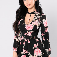 Young And Alive Romper - Black