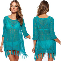 Bathing Suit Cover Ups Fashion Lace Tassels
