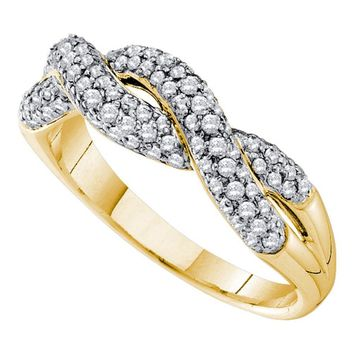 14kt Yellow Gold Womens Round Diamond Woven Twist Crossover Band Ring 1/2 Cttw